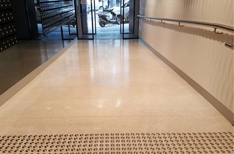 UniLodge Utilise Ultra-Modern Terrazzo Floor for Foyer